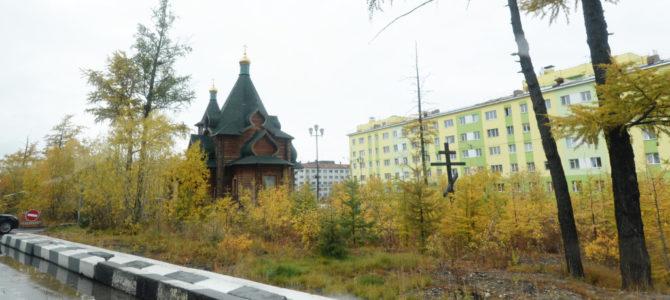 Святейший Патриарх Кирилл посетил храм Святой Троицы в Норильске.